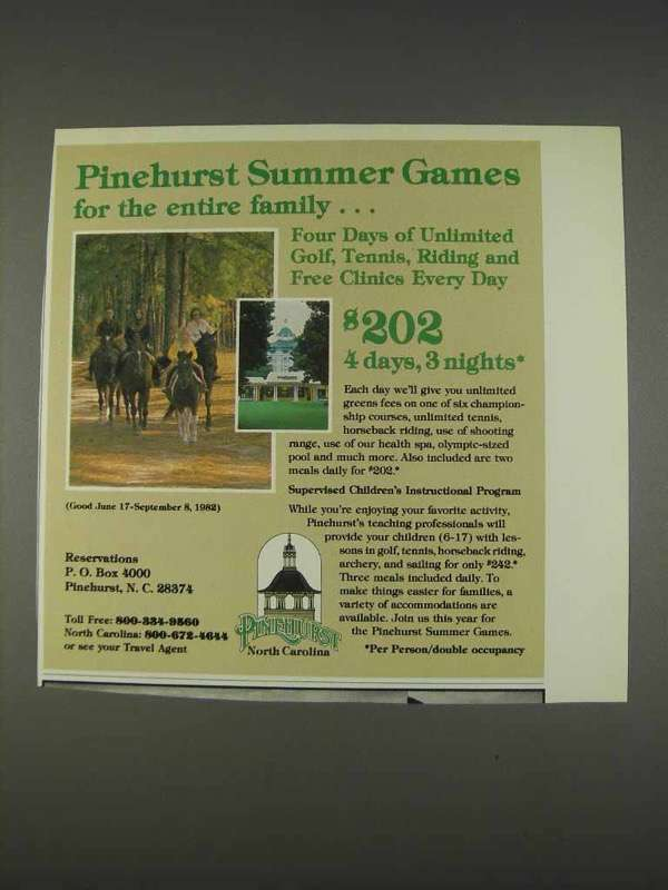 Primary image for 1982 Pinehurst North Carolina Ad - Summer Games