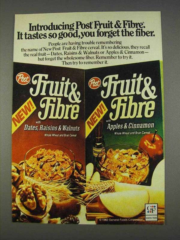Primary image for 1982 Post Fruit & Fibre Cereal Ad - Tastes So Good