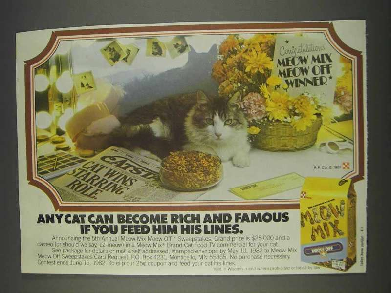 Primary image for 1982 Purina Meow Mix Ad - Rich and Famous