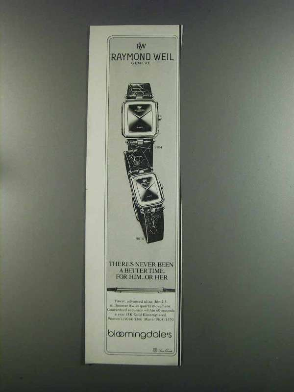 Primary image for 1982 Raymond Weil 9104 and 9014 Watches Ad