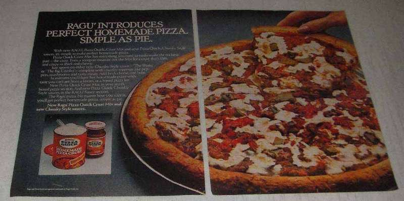 Primary image for 1982 Ragu Pizza Quick Crust Mix & Chunky Sauces Ad