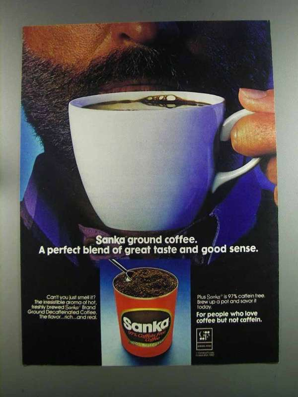 Primary image for 1982 Sanka Coffee Ad - Perfect Blend of Great Taste