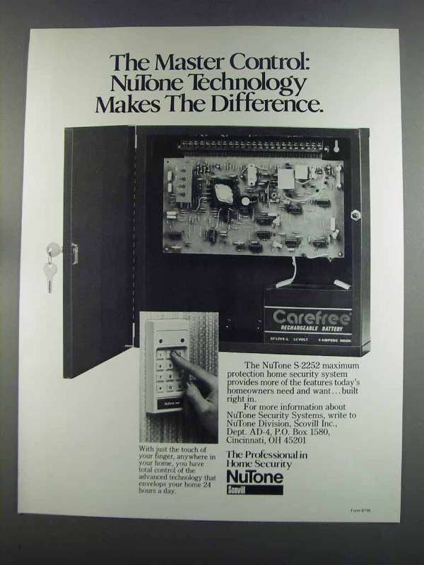 Primary image for 1982 Scovill NuTone S-2252 Home Security System Ad