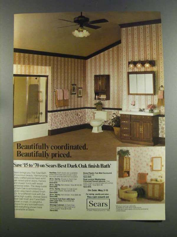 Primary image for 1982 Sears Dark Oak Bath Ad - Beautifully Coordinated
