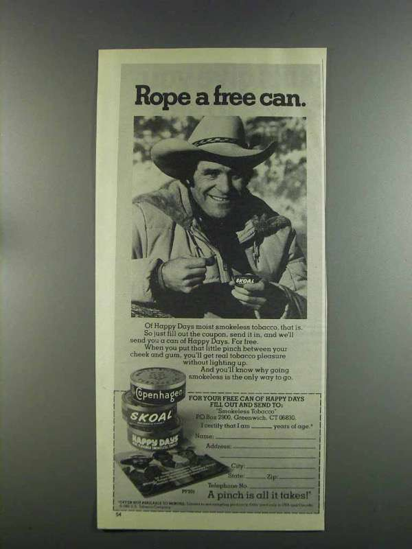 Primary image for 1982 Skoal Tobacco Ad - Walt Garrison - Rope a Free Can
