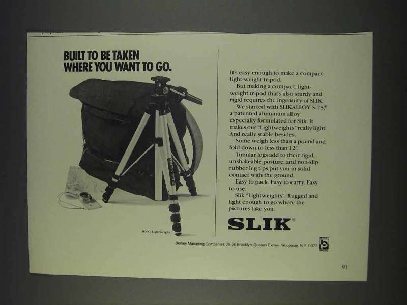 Primary image for 1982 Slik 800G Lightweight Tripod Ad - You Want to Go