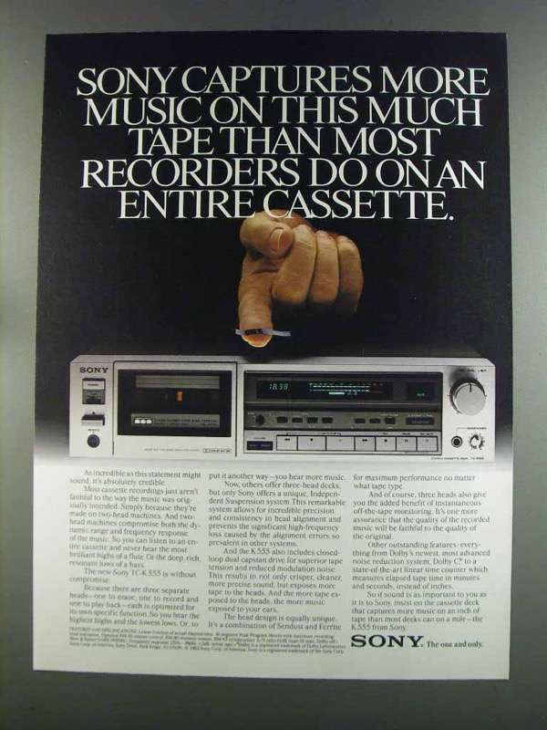 Primary image for 1982 Sony TC-K 555 Cassette Deck Ad - Captures Music