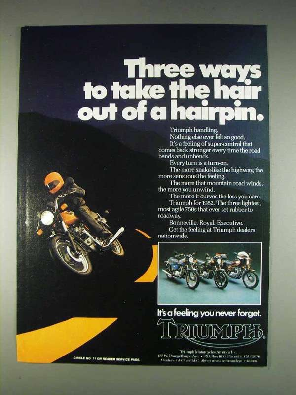 Primary image for 1982 Triumph Bonneville, Royal, Executive Motorcycle Ad