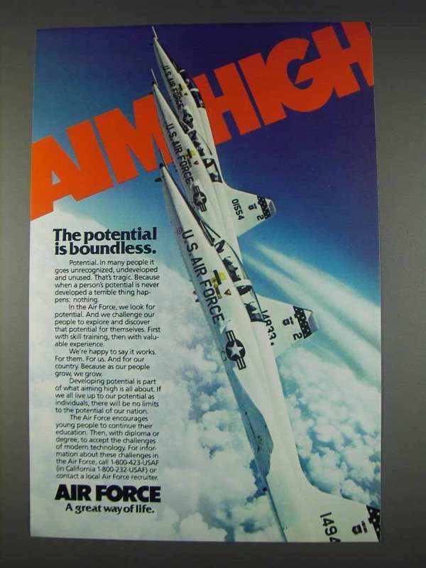 Primary image for 1982 U.S. Air Force Ad - Aim High