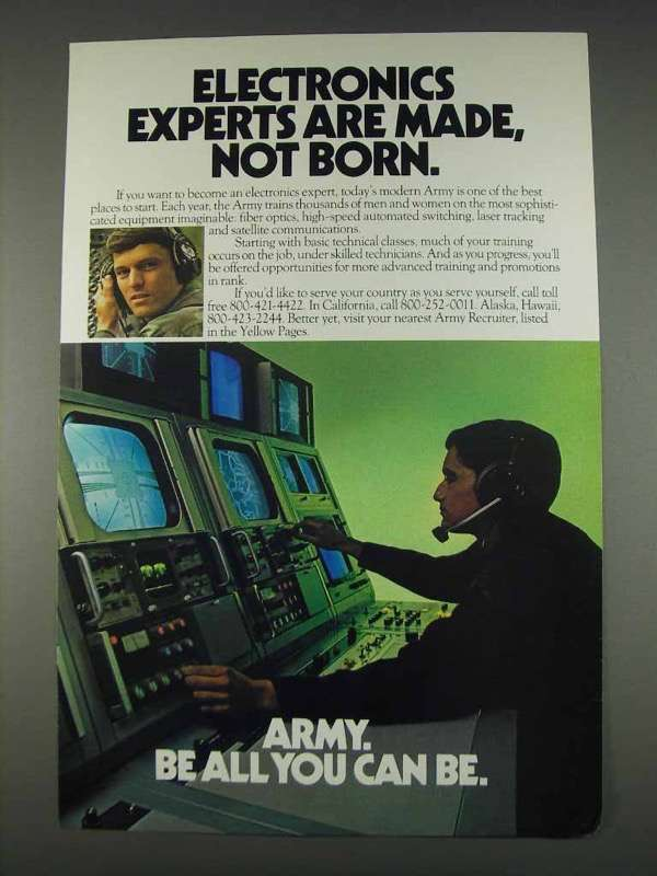 Primary image for 1982 U.S. Army Ad - Electronics Experts Are Made