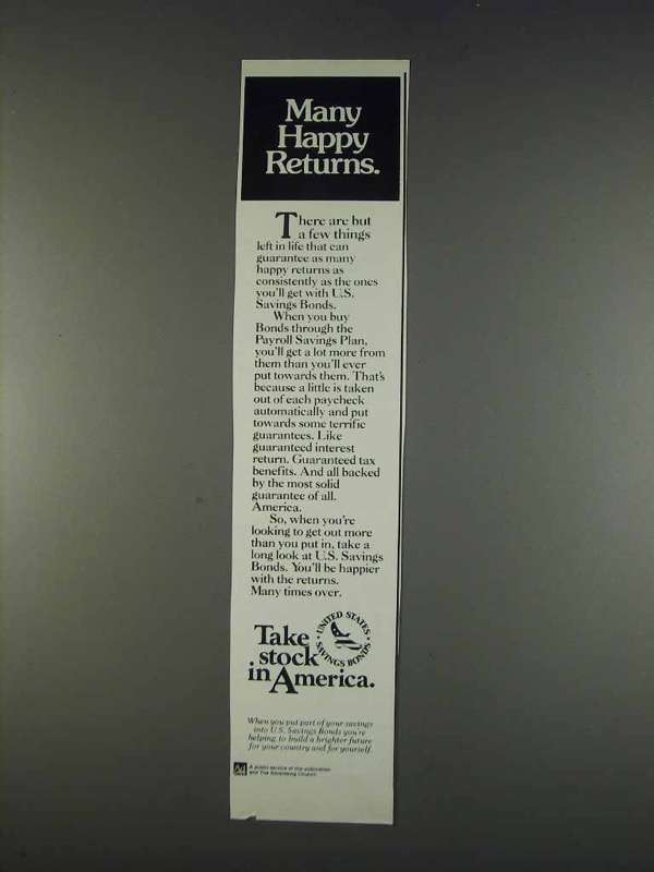 Primary image for 1982 U.S. Savings Bonds Ad - Many Happy Returns