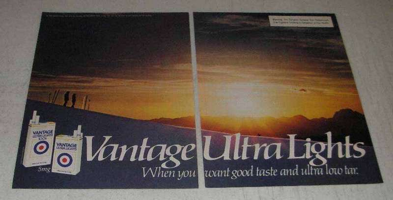 Primary image for 1982 Vantage Ultra Lights Cigarettes Ad