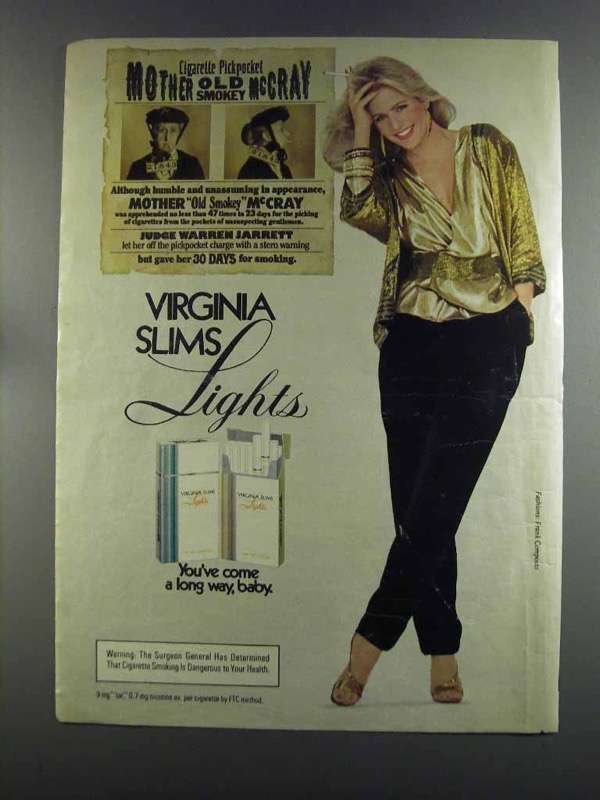 Primary image for 1982 Virginia Slims Lights Cigarettes Ad - Old McCray