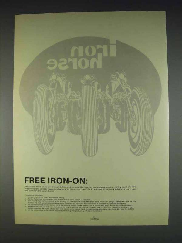Primary image for 1982 Vintage Iron Horse Iron-On - Motorcycles