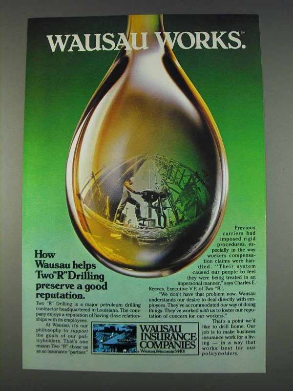 Primary image for 1982 Wausau Insurance Ad - Helps Two R Drilling