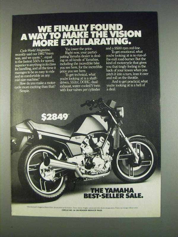 Primary image for 1982 Yamaha Vision Motorcycle Ad - More Exhilarating