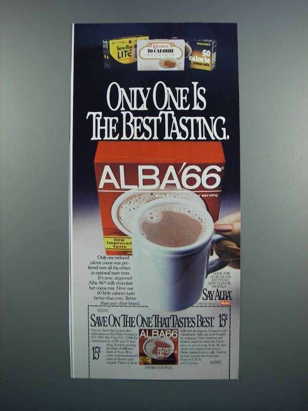 Primary image for 1983 Alba 66 Milk Chocolate Hot Cocoa Mix Ad