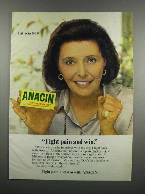 Primary image for 1983 Anacin Medicine Ad - Patricia Neal - Fight Pain and Win