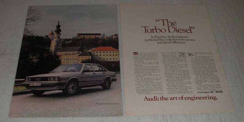 Primary image for 1983 Audi 5000 Turbo Diesel Ad - The Turbo Diesel