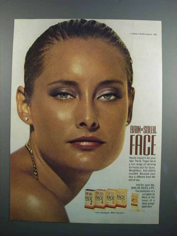 Primary image for 1983 Bain de Solei Face Ad - Haute Couture