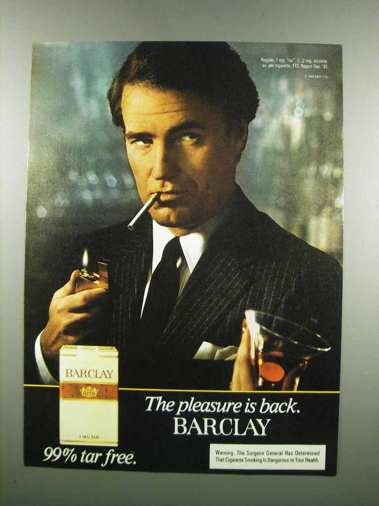 Primary image for 1983 Barclay Cigarettes Ad - The Pleasure is Back