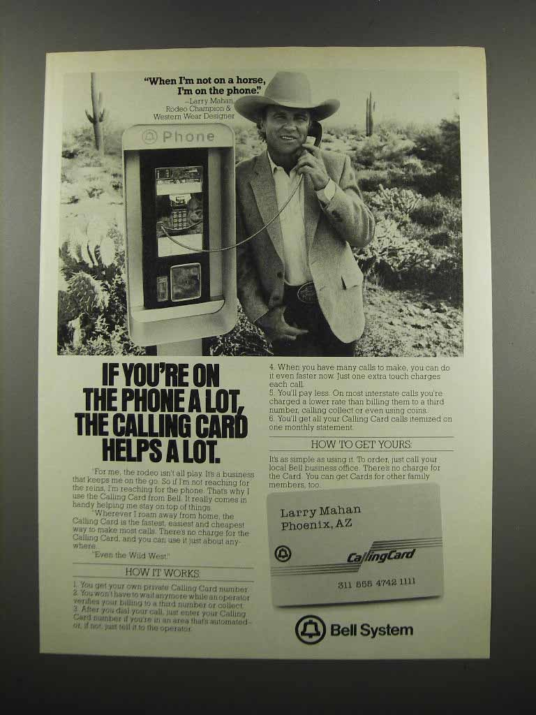 Primary image for 1983 Bell System Calling Card Ad - Larry Mahan