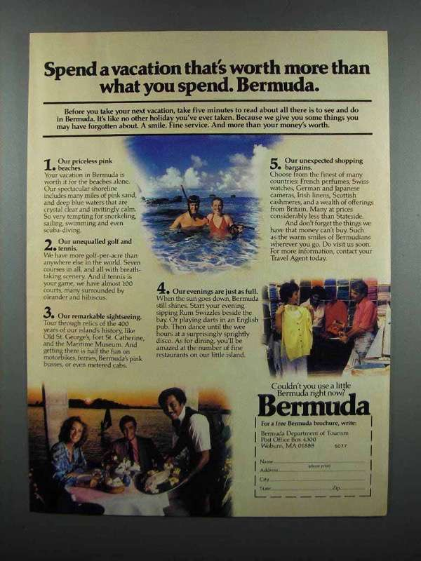 Primary image for 1983 Bermuda Tourism Ad - Worth More Than You Spend