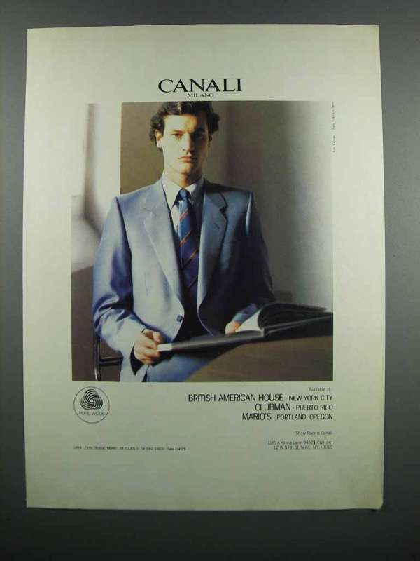 Primary image for 1983 Canali Fashion Ad