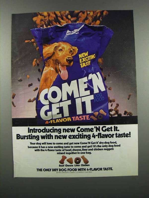 Primary image for 1983 Carnation Come 'n Get It Dog Food Ad