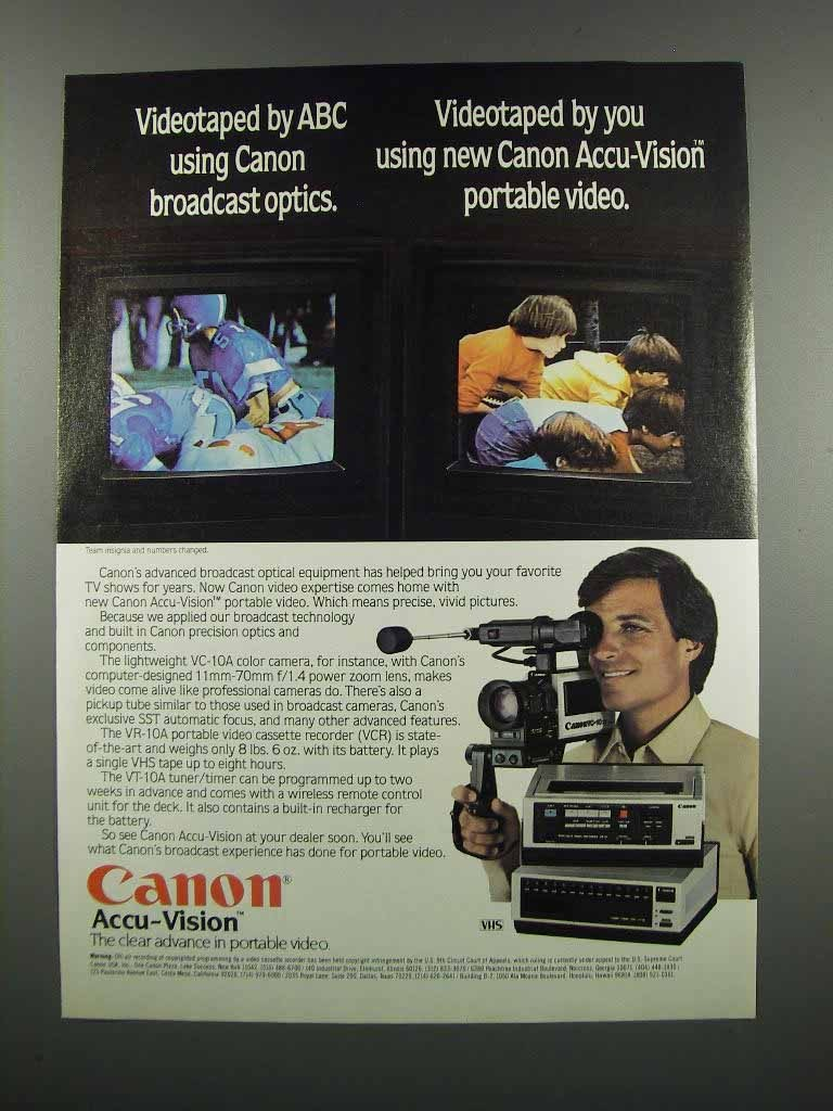 Primary image for 1983 Canon Ad - Accu-Vision Video VC-10A Camera