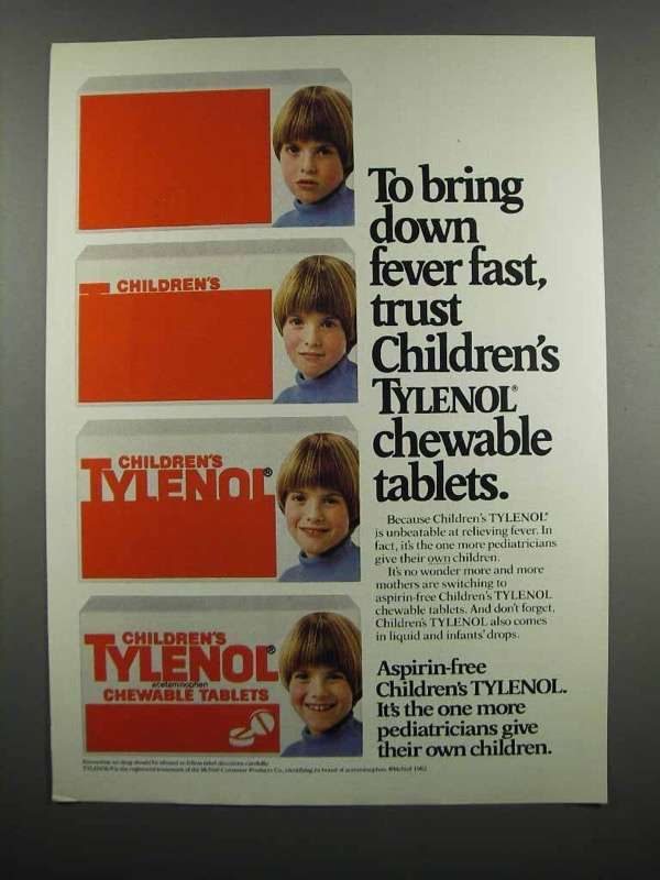 Primary image for 1983 Children's Tylenol Chewable Tablets Ad - Fever