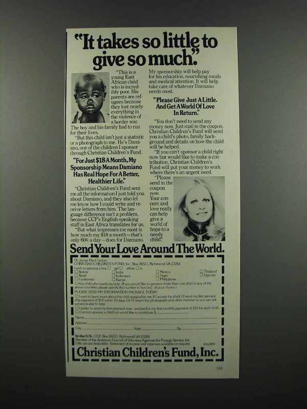 Primary image for 1983 Christian Children's Fund Ad - Sally Struthers - It Takes so little
