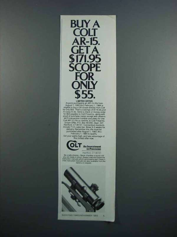 Primary image for 1983 Colt AR-15 Rifle and Scope Ad