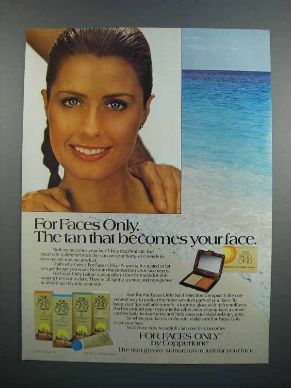 Primary image for 1983 Coppertone For Faces Only Ad - The Tan