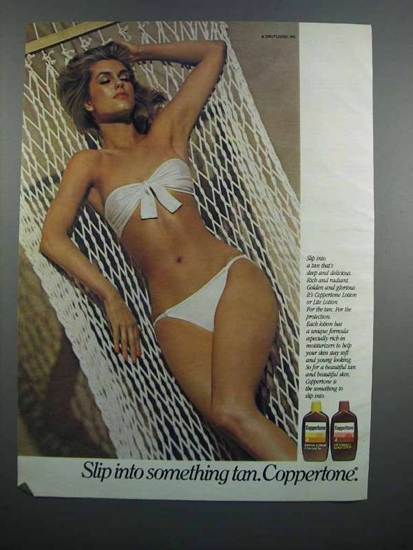 Primary image for 1983 Coppertone Suntan Lotion Ad - Slip Into Something