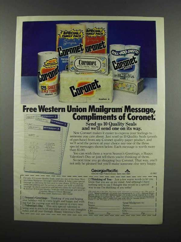 Primary image for 1983 Coronet Paper Towels, Tissues, Toilet Paper Ad