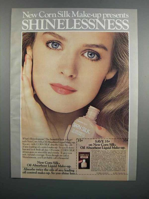 Primary image for 1983 Corn Silk Oil Absorbent Liquid Make-up Ad