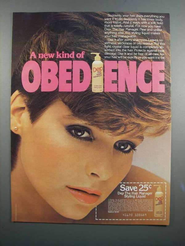 Primary image for 1983 Dep The Hair Manager Styling Liquid Ad - Obedience