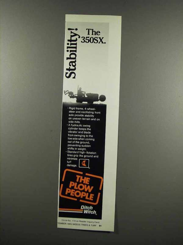 Primary image for 1983 Ditch Witch 350SX Ad - Stability