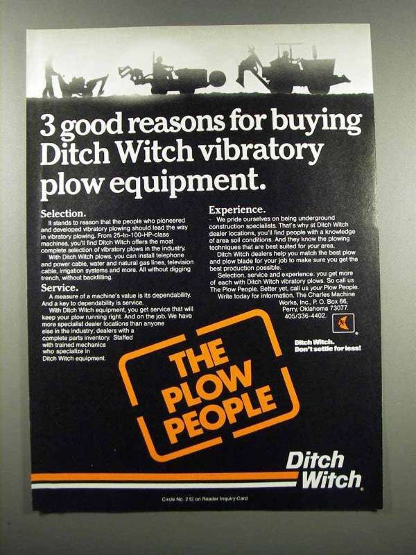 Primary image for 1983 Ditch Witch Ad - 3 Good Reasons for Buying