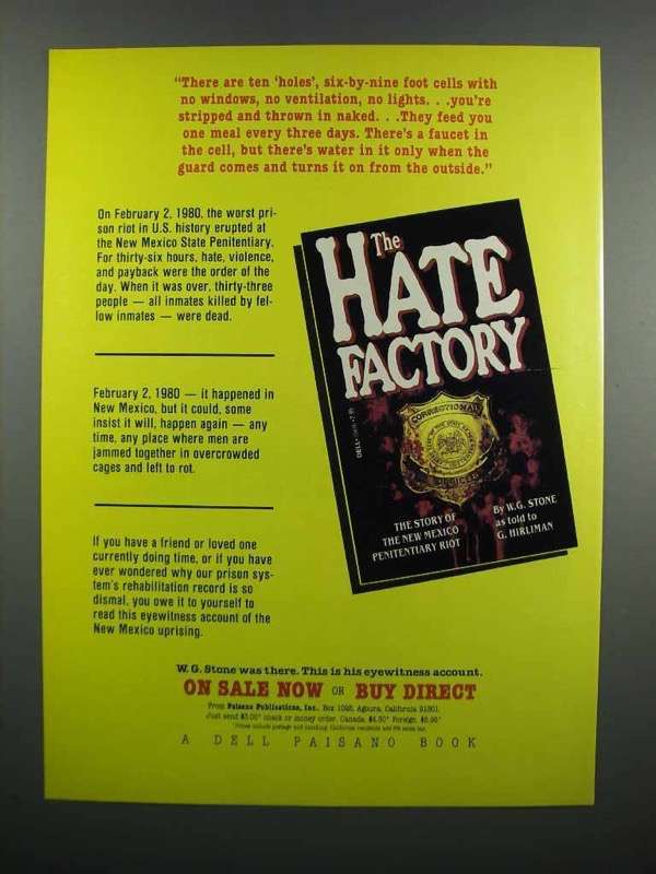 Primary image for 1983 Dell Paisano Book Ad - The Hate Factory - W.G. Stone