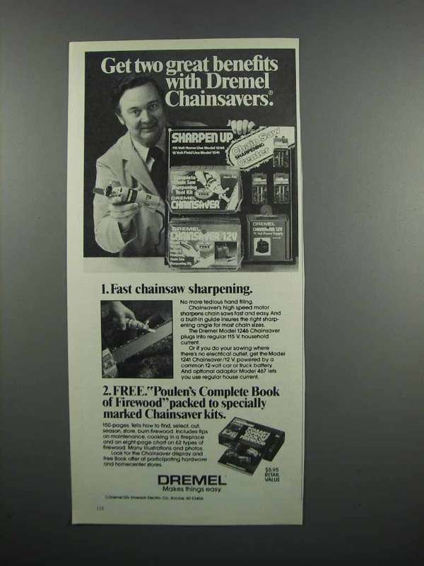Primary image for 1983 Dremel Chainsaver Ad - Get Two Great Benefits