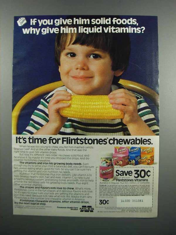 Primary image for 1983 Flintstones Vitamins Ad - Give Him Solid Foods