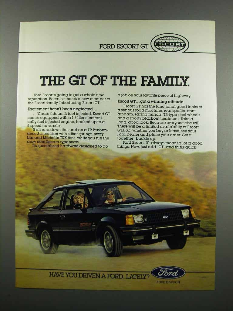 Primary image for 1983 Ford Escort GT Ad - The GT of the Family