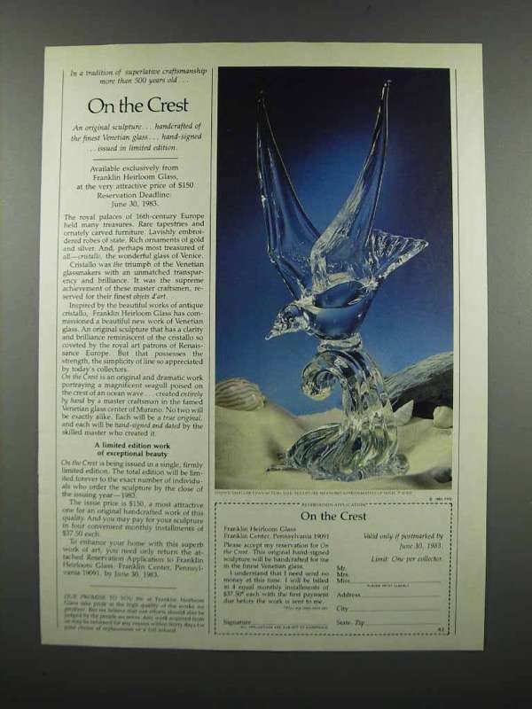 Primary image for 1983 Franklin Heirloom Glass: On the Crest Sculpture Ad
