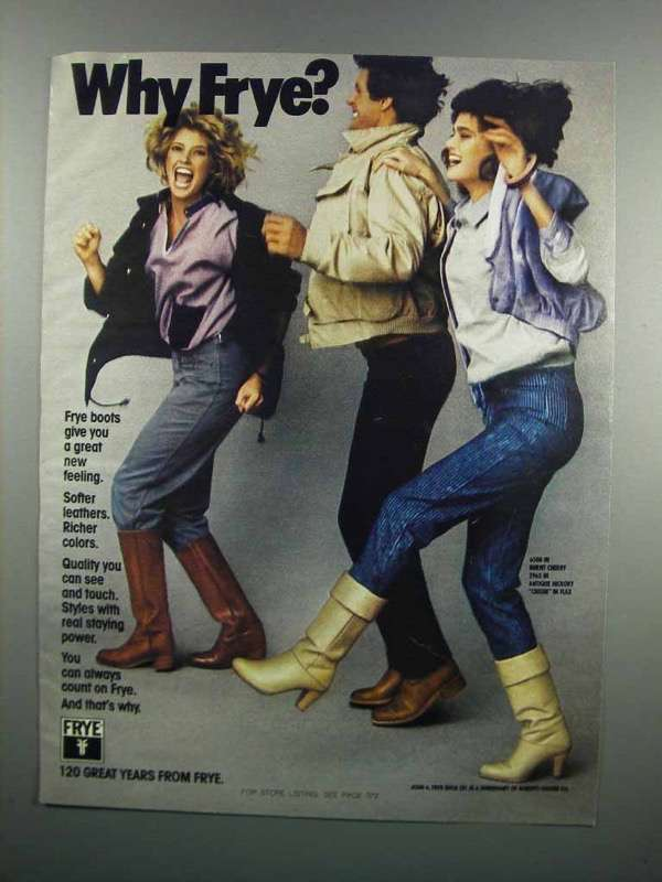 Primary image for 1983 Frye Boots Ad - 6500, 2965 & Crissie in Flax