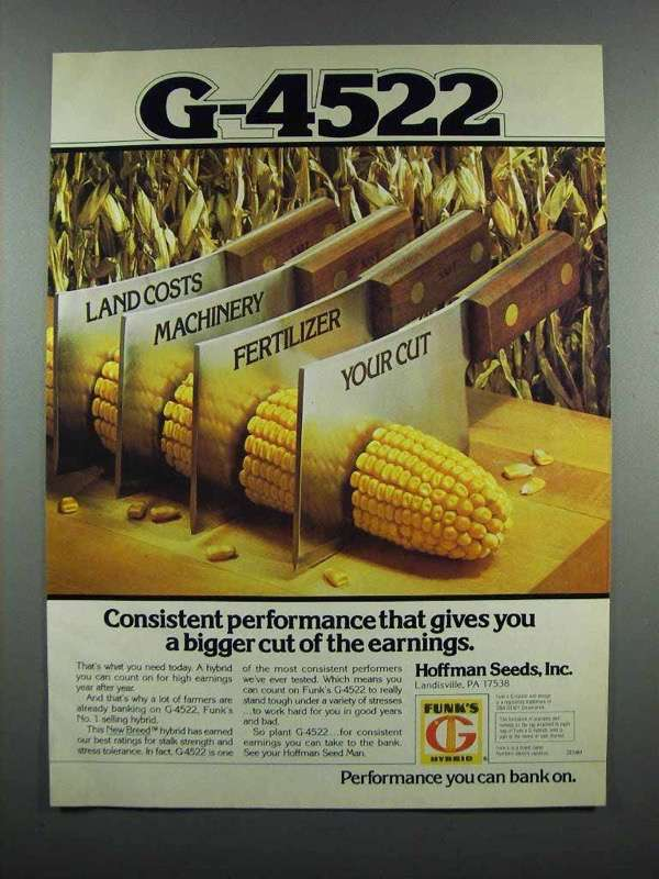 Primary image for 1983 Funk's G-4522 Seed Ad - Consistent Performance