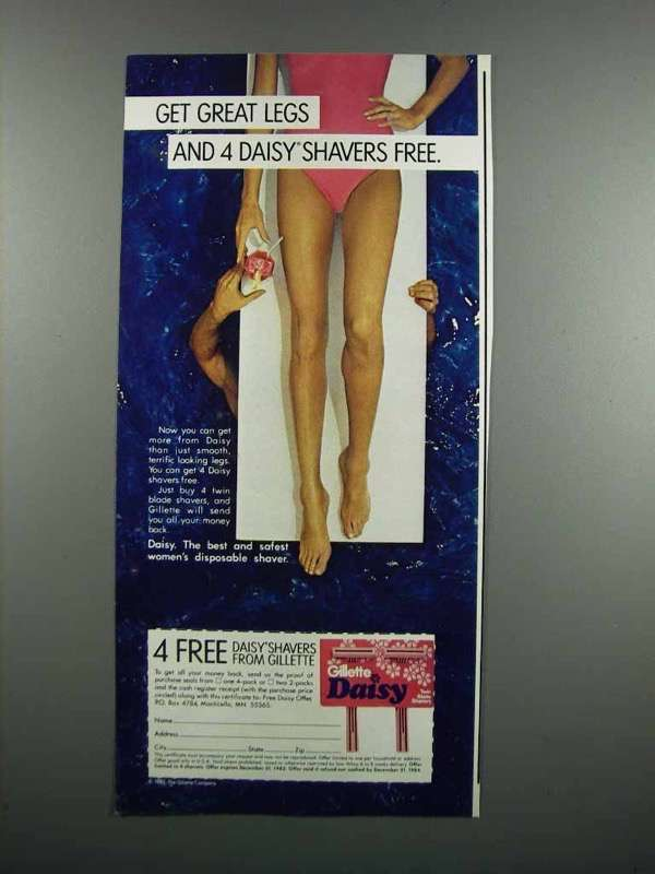 Primary image for 1983 Gillette Daisy Razor Ad - Get Great Legs