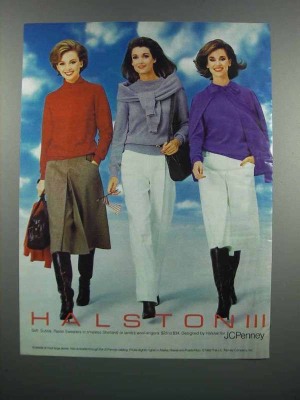 Primary image for 1983 Halston III Collection Pastel Sweaters Ad