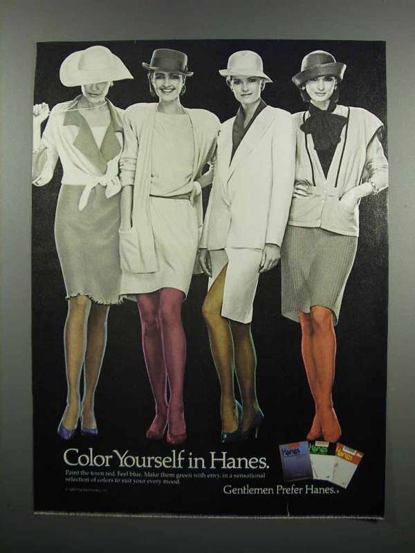 Primary image for 1983 Hanes Pantyhose Ad - Color Yourself in Hanes